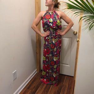 high-neck maxi halter dress